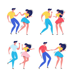 dancing couple rockabilly dance swing dancers vector image