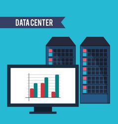 Data center computer financial graph vector
