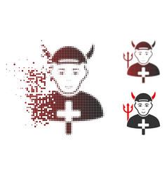 Dispersed pixelated halftone satan priest icon vector