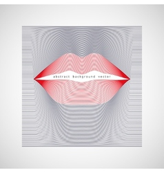 Female lips of red lines vector