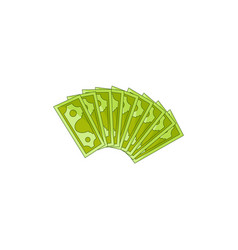 Flat cash money fan isolated vector