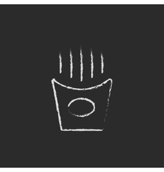 French fries icon drawn in chalk vector image