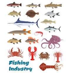 Fresh fish catch icons for fishery industry vector