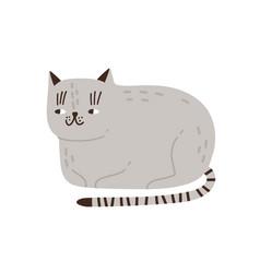 Funny childish gray cat flat vector