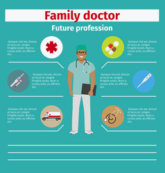 future profession family doctor infographic vector image