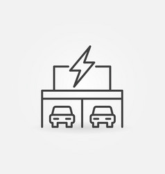 garage with electric cars concept outline vector image