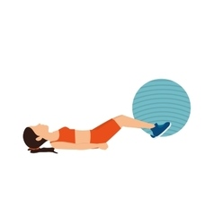 Girl training ball fitness stretching vector