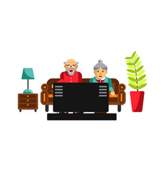 Grandmother and grandfather watching tv vector