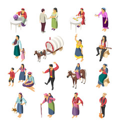 gypsies isometric icons set vector image