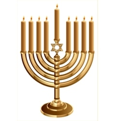 Hanukkah candleholder with 9 candles Candlestick vector image