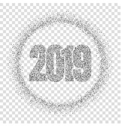 Happy new year silver number 2019 circle frame vector
