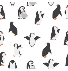 Happy penguins family seamless pattern vector