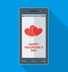 Happy Valentines Day and heart icon on the vector image