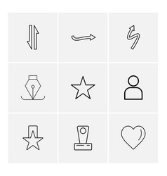 Heart star nib arrows directions avatar vector