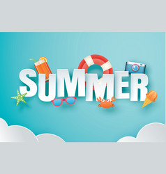 hello summer with decoration origami on blue sky vector image
