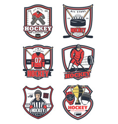 ice hockey game sport icons vector image
