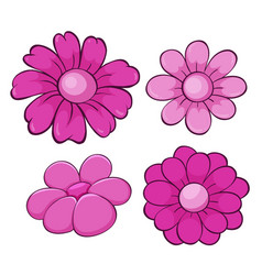 Isolated set flowers in pink vector