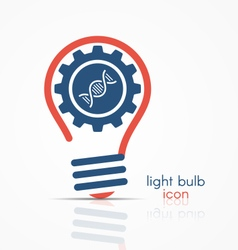light bulb idea icon with gear and dna icon vector image