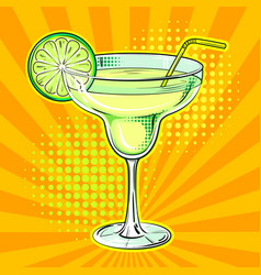 Liquor alcohol cocktail pop art vector