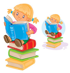 Little girl is sitting on a pile of books and vector