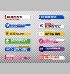 lower third template set of tv banners and bars vector image