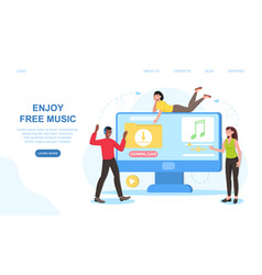 male and female characters are enjoing free music vector image
