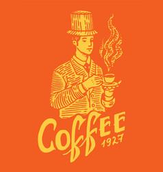 Man holds a mug coffee victorian gentleman vector