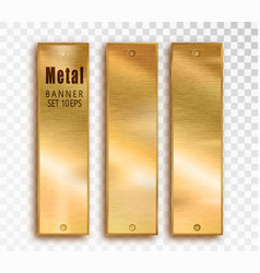 metal gold vertical banners set realistic vector image
