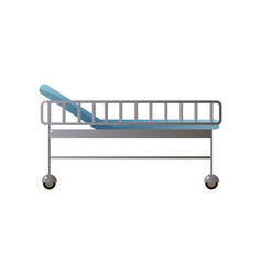 Metal high hospital bed with steel protect and vector