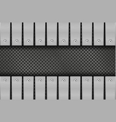 Metal perforated background with rivetted plates vector