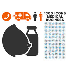 Mother milk icon with 1300 medical business icons vector