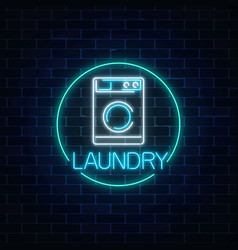 Neon glowing laundry signboard in circle frame vector