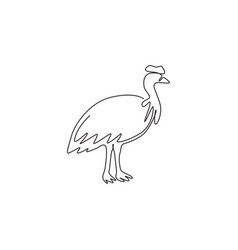 one continuous line drawing cute cassowary vector image