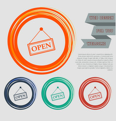 open icon on the red blue green orange buttons vector image