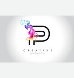 P vibrant creative leter logo design with vector