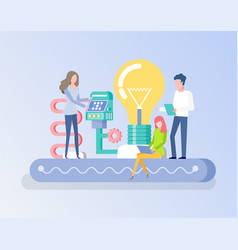 People with invention innovation project vector