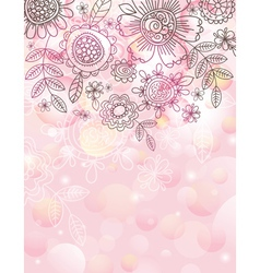 pink background with hand draw flowers vector image