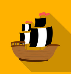 pirate ship icon in flat style isolated on white vector image