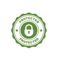 Protected - security and safety seal with padlock vector