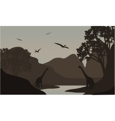 Pterodactyl and brachiosaurus silhouette in river vector