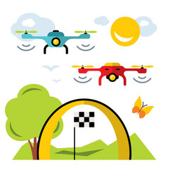 quadrocopter racing competition new sport vector image