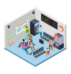 railway bus station or airport waiting area vector image