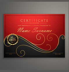 Red and black luxury certificate design template vector