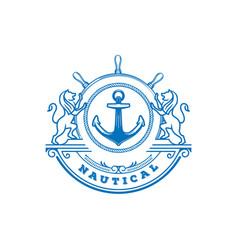 retro vintage lion anchor boat ship wheel marine vector image