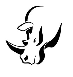 Rhinoceros head tattoo vector image