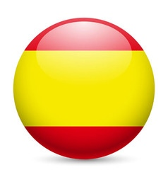 Round glossy icon of spain vector image