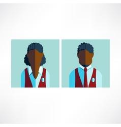 Schoolboy and schoolgirl African icon flat vector