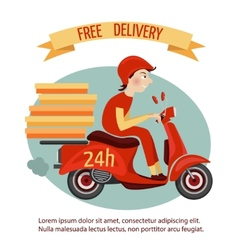 Scooter delivery poster vector image
