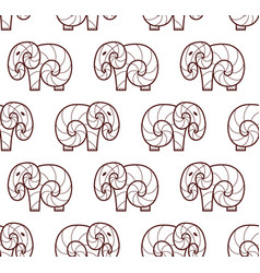 Seamless pattern of brown line art elephant vector