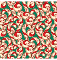 Seamless Pattern with Candy Canes Christmas vector image